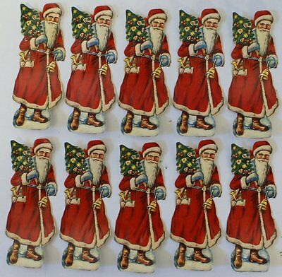 "Vintage Lot of 10 German 4"" Embossed Die Cut 1930s Scrap Santa Claus (G11)"