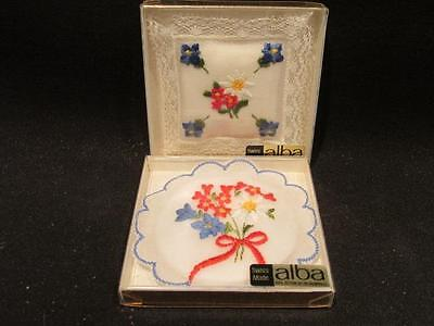 Alba Swiss Made 100% Cotton Baumwolle 2 Embroidered Pin Cushions in Boxes