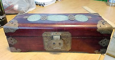 Shanghai China Jewelry Box with Brass Accents Wooden