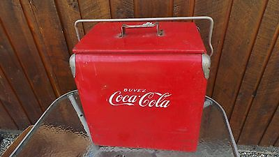 Vintage Red COCA COLA Cooler Chest with Lid Drink Soda From 1940s French