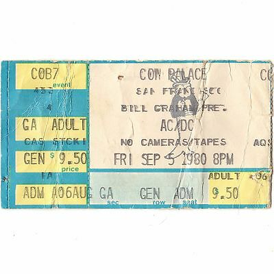 AC/DC & NANTUCKET Concert Ticket Stub DALY CITY CA 9/5/80 COW BACK IN BLACK TOUR