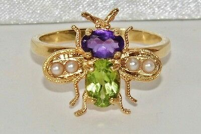 Suffragette 9ct Yellow Gold on Silver Amethyst Peridot Pearl Insect Ring size Q