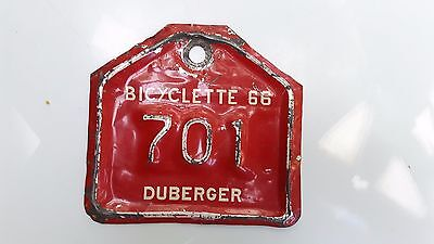 Rare 1966 Duberger  Bicycle  License Plate  701 Quebec Canada