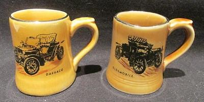 1904 Darracq & Oldsmobile 2 Vintage Wade Moko Miniature Mugs Veteran Car Club
