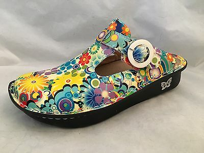 ALRGRIA Size 38 Donna Floral Patent Clog Shoes Leather