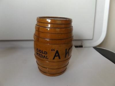 MAUCHLINE WARE miniature beer barrel cotton/twill dispenser