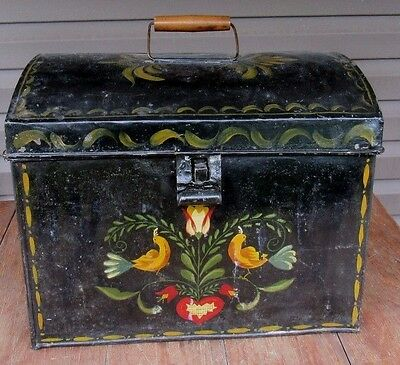 Large Toleware Trunk Shape Traveling Case Document Box Tole Painted Birds PA?