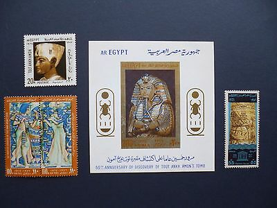 EGYPT :-  1972 : 50th Anniv. ofdiscovery of Tutankhamun's tomb. UMMint set.