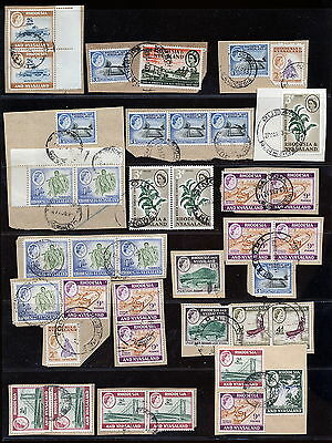 Rhodesia & Nyasaland  Lot Used On Piece - Postmarks.      A196