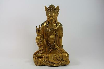 42 cm Skulptur Buddha in Meditation Resin Gold Südostasien