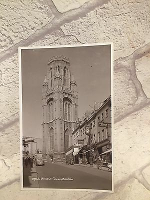 1942 Real Photo Postcard PC University Tower BRISTOL