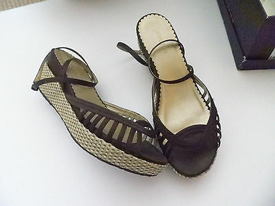 LADIES LANA  BROWN WEDGE STYLE SANDALS with RAFFIA WEDGE SIZE UK 8.5