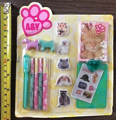 100 X CUTE CATS & PUPPIES 15pc SET WHOLESALE JOB LOT PARTY LUCKY BAG STATIONARY