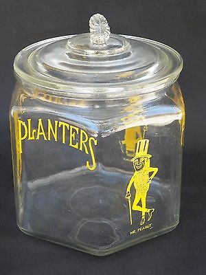 Antique Planters Peanuts Clear Glass Jar with Top