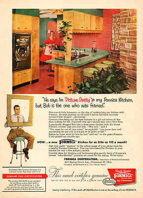 1956 vintage AD FORMICA kitchens Very 50s Style  (060115)