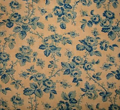 BEAUTIFUL TIMEWORN FRAGMENT 19th CENTURY FRENCH PROVENCAL CHINTZ c1850 ROSES REF
