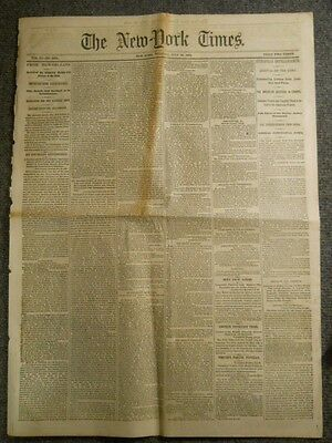 July 29, 1862 NY Times ~ Van Buren Funeral ~ Stonewall Jackson ~ Civil War