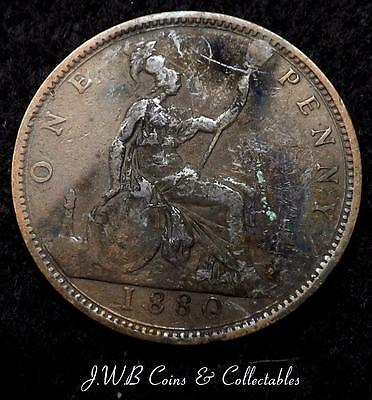 1880 Queen Victoria Young Head 1d One Penny Coin - Great Britain.