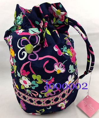 NWT Vera Bradley ditty bag in retired Ribbons pattern Navy and Pink ** fast ship