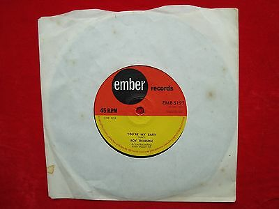 "Roy Orbison- You're My Baby/ Rock House UK 7"" 45 single on Ember Records 1964 EX"