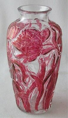"""Consolidated art glass magenta stained crystal PEONIES vase, 6 1/4"""" h"""
