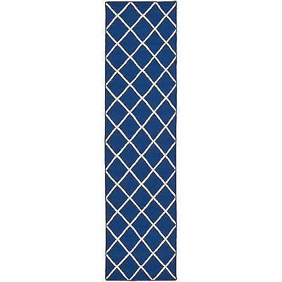 Safavieh Dark Blue Handwoven Moroccan Reversible Dhurrie Wool Runner Rug (2'6 x