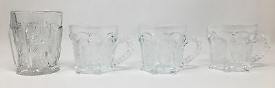 Lot 3 Antique Higbee Paneled Thistle Cups and 1 Tumbler Signed Bee Mark SL1