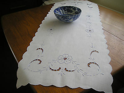 Vintage Table Runner ~ White Cotton ~ Delicate Blue Embroidery & Scalloped Edge