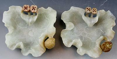 Pair Vintage Chinese Fine Soapstone Mutton Fat Green Lotus Flower Dishes NoRes