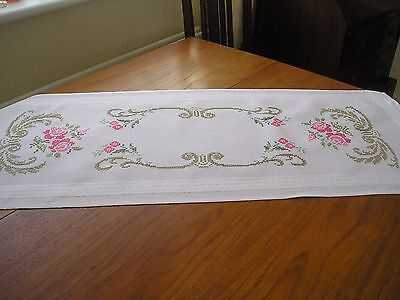 Vintage Table Runner ~ White With Beautiful Cross Stitch Embroidery ~ Roses