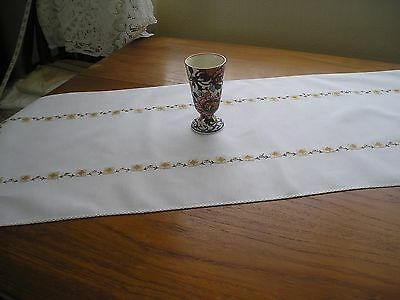 """Vintage Table Runner ~ White Cotton With Coloured Embroidery ~ 42"""" X 15.5"""""""