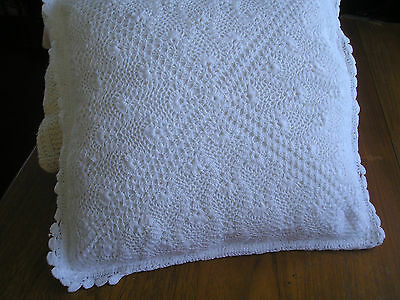 VINTAGE BED DISPLAY CUSHION ~ HAND CROCHET LACE& COTTON ~complete with inner pad