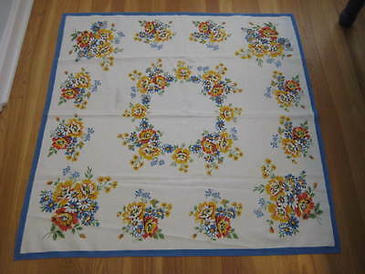 Vintage Summer WILDFLOWERS Floral Yellow Blue White Square Tablecloth 39 x 39