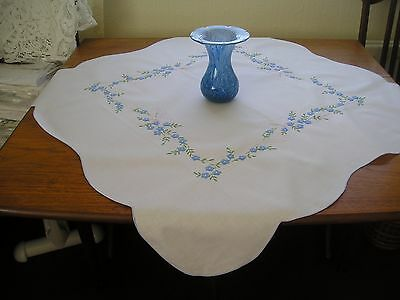 Pretty Vintage Tea Tablecloth ~ White Cotton ~ Embroidered Blue Flowers