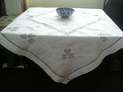 Gorgeous Antique Irish Linen Tablecloth ~ Beautiful Hand Embroidery & Inserts