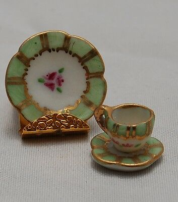 Dollhouse Miniature Ceramic Teacup Saucer Limoges Style Artisan Barbara Epstein