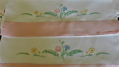 Ant. Irish Linen Pillow Cases Old Bleach Hand Embroidered Pink Border  Mint A1