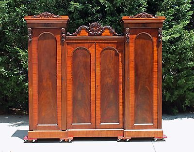 19th c Flamed Mahogany Empire Victorian Triple Armoire Wardrobe Linen Press