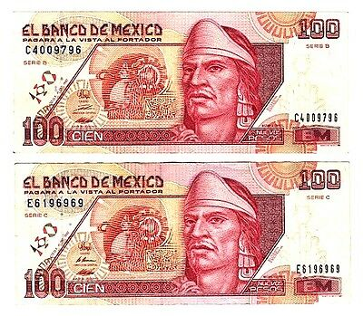 2 MEXICO 100 Peso 1992 Series B&C SubSeries C&E P-102 First Issue Circs PPD-USA