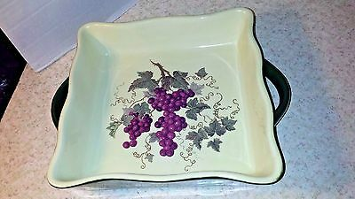 Casserole   Dish Huabo Green With Grapes Handles Square