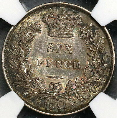 1851 NGC AU 53 Victoria Silver 6 Pence GREAT BRITAIN Coin (17042203C)