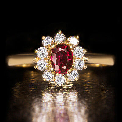 NATURAL 1/2ct RED RUBY DIAMOND HALO COCKTAIL ENGAGEMENT RING ESTATE 18K GOLD