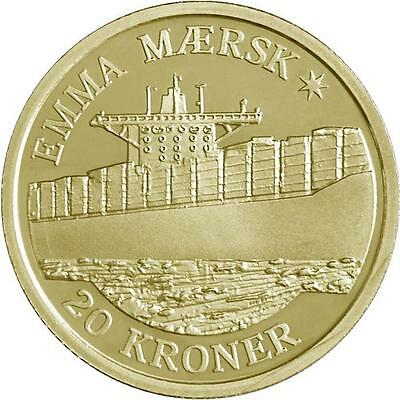 """2011 Denmark 20 Kroner Uncirculated Coin """"Ships: Emma Maersk Container Ship"""""""