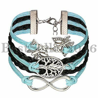 New Fashion Leather Cute Infinity Butterfly Tree of Life Charm Bracelet Unisex