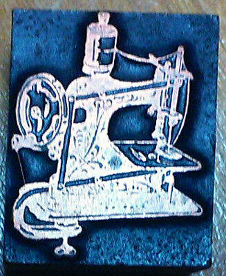 Vintage Letterpress Printers Block, Antique Sewing Machine