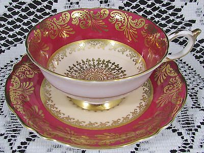 Paragon Gold Gilt Ornate Gold Medallion Red Tea Cup And Saucer
