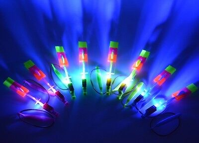 Bulk Lot 10 Sling Shot LED Flying Helicopters Kids Toy Party Favors