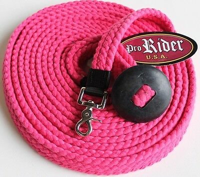 25 ft Cotton Lunge Line Rubber Hand Stop Snap Horse Tack Pink 9804