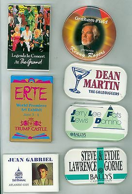 7 Vintage 80s-90s Casino Headliners Ad Promo Pinback Buttons Kenny Rogers Trump