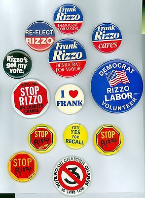 13 Vintage 1970s Philadelphia Mayor Rizzo Political Campaign Pinback Buttons